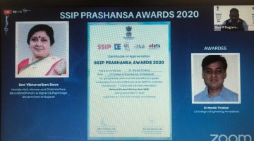 SSIP Prashansha Award 2020-SSIP Coordinator Best Institute awarded to  Prof( Dr.) Manish Thakkar