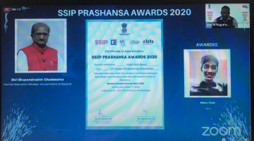 SSIP Prashansha Award 2020-Best Campus Startups/early birds awarded to Malav Shah for SSIP Project-Reolo